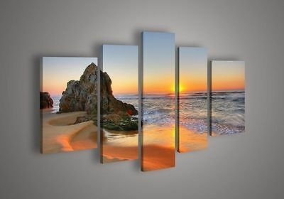 5 Piece Wall Art Seascape Blue Ocean Sunset Sea Oil Painting On Canvas No frame