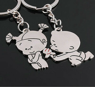 A couple keychain Fashion Metal couples keychains Key Ring for lover F007