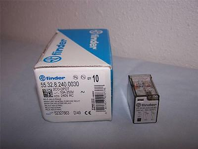 Finder 55.32.8.240.0030 Plug-In  Relay 10A 240V Dpdt New In Box Lot Of 10