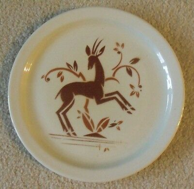 Antique Shenango China Dinner Plate - Rare Pattern - Art Deco Deer