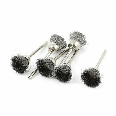 6pcs 3mm Shank 15mm Cup Dia Stainless Steel Wire Polishing Brush for Rotary Tool