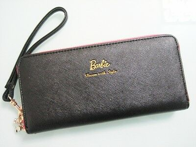 Original Barbie Black Zip Around Long Wallet W/ Hand Strap ~ NEW Free Shipping