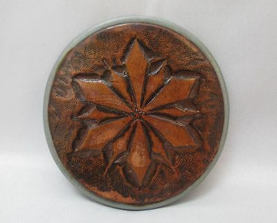 Stylish Round Silver Tone Belt Buckle Brown Leather With Flower/Star Design **