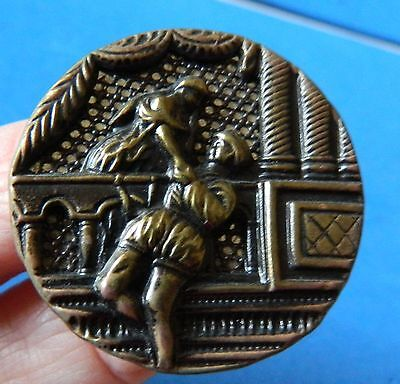 Antique PICTURE Large Button - ROMEO and JULIET- AWESOME