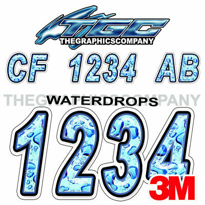 Waterdrops Custom Boat Registration Numbers Decals Vinyl Lettering Stickers USCG