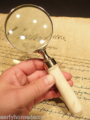 "Antique Style 3"" Brass Bone Handle Magnifying glass Desk Magnifier"