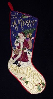 Needlepoint Christmas Stocking A Merry Christmas Santa Gold Thread Velvet