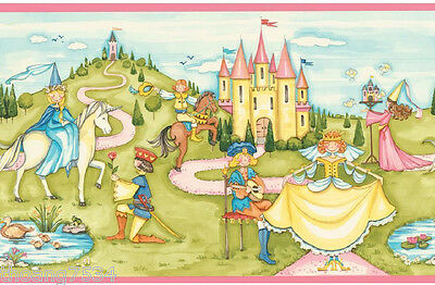 Princess Prince Queen Castle Unicorn Fairy Tale Pink Girl Kids Wall paper Border