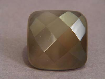 Ring Gray Agate 28-35mm Facet Square SZ 7.25 8481