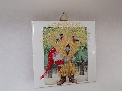 Ceramic Cork Backed Tile Trivet Hot Pad Tomte & Wheat by Eva Melhuish #EVA27