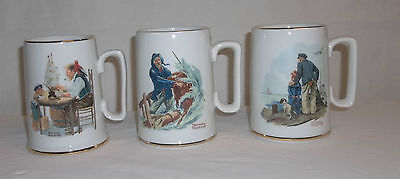 Norman Rockwell Museum Coffee Mugs Cups 1985 Set 3