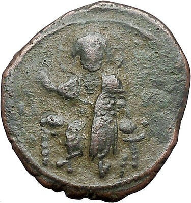 JESUS CHRIST Class F Anonymous Ancient 1059AD Byzantine Follis Coin i48096