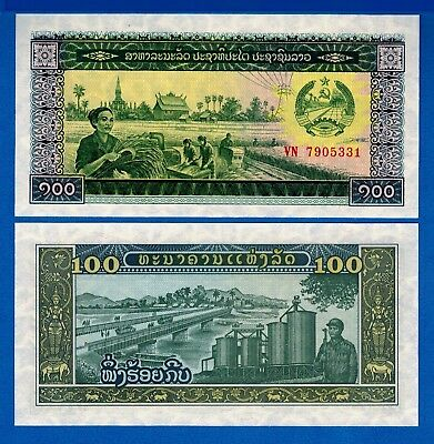 Laos P-30 100 Kip Year ND 1979 Harvesting Uncirculated Banknote