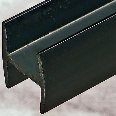 """Black plastic styrene 1/2"""" H channel dividers in 8 foot lengths cut to size"""