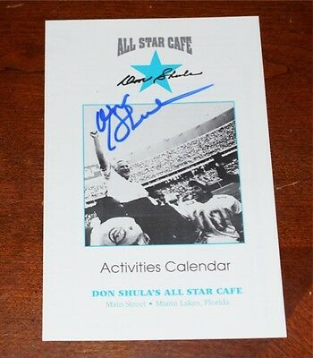 "DON SHULA Signed ""ALL-STAR CAFE"" Activities Calendar - MIAMI DOLPHINS  - DS1"