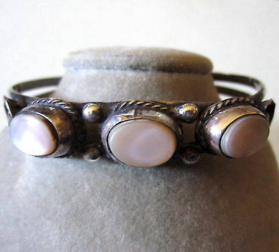 GORGEOUS VINTAGE PAWN SILVER CUFF BRACELET INLAID MOTHER OF PEARL SIGNED BEAUTY