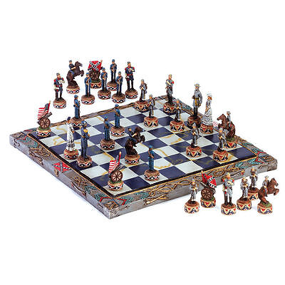 Civil War Chess Set Soldiers Classic Union Confederate Board Game NEW