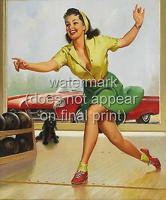 GIL ELVGREN Pin Up Poster / Canvas Print Sexy Girl In Bowling Alley A5/4/3