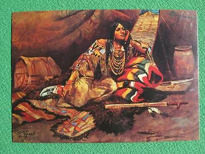 """Charles Russell Vintage Postcard """"Keoma No. 3"""" Beautiful Indian Maiden Mint WOW"""