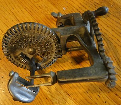 VINTAGE TURN TABLE APPLE PEELER MANFR. BY LOCKEY & HOWLAND 1856
