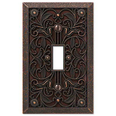 Arabesque Filigree Aged Bronze Switchplate Outlet cover wall plates Switch plate