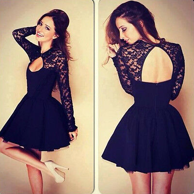 Women Lace Hollow Out Open Back Fit Sheath Bodycon Clubwear Party Cocktail Dress