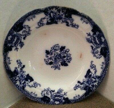 "Antique Roseville England John Maddock sons Flow Blue medium 7.75"" bowl"