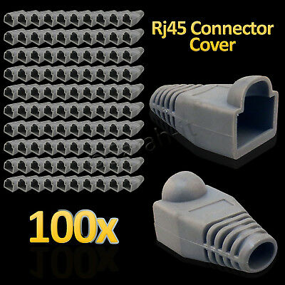 100 x RJ45 Cat5e Cat6 Cable Connectors Boots Ethernet Network Plug Ends Cover UK