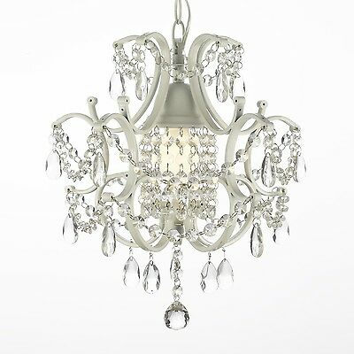 WHITE WROUGHT IRON CRYSTAL CHANDELIER LIGHTING COUNTRY FRENCH swag kit w plugin