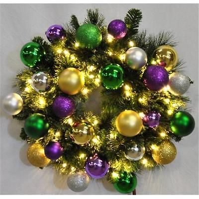 4 ft. Pre-Lit Warm White Sequoia Wreath Decorated with The Mardi Gras Ornamen...