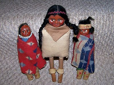 3 Vintage Souvenir Skookum Indian Dolls Pair of 7in & One 9 1/2in Dolls
