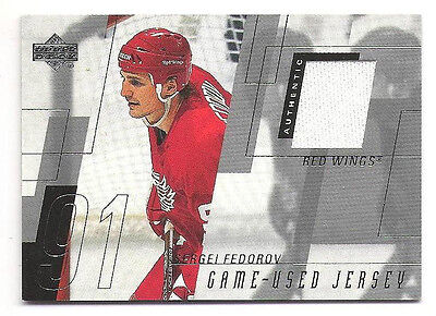 2000-01 Upper Deck UD Game Jersey #SF Sergei Fedorov Detroit Red Wings