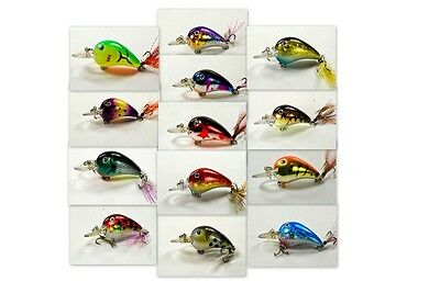 """[132] Lot of 13 Holographic Hand Painted 3""""  Bass Pike Trout Fishing Lure Bait"""