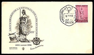 1956 Argentina anniversary Revolution liberty cachet first day cover