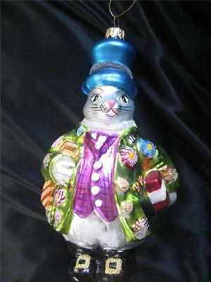"""Christopher Radko White Rabbit in Top Hat Jacket Vest Gifts Holiday 7"""" Ornament"""