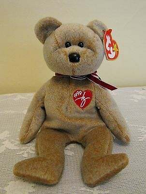 TY 1999 SIGNATURE BEAR Beanie Baby Red Heart 1999 with Tag