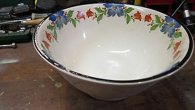 Vtg Stoneware Mixing Bowl Harkin Pottery Co. Floral 1840 Bow & Arrow Stamp