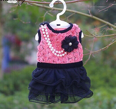 """Small Dog Girl Clothes Pearl Necklace Rose Lace Summer Dress XS Chest:30cm/12"""""""