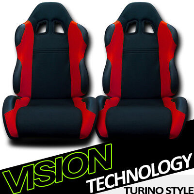 TS Sport Blk/Red Cloth Fabric Reclinable Racing Bucket Seats w/Sliders Pair V12