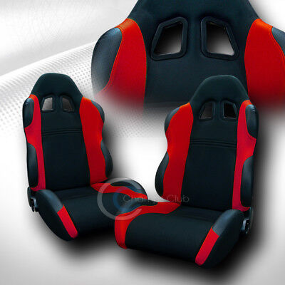 2X Universal Ts Blk/red Cloth Leather Reclinable Racing Bucket Seats+Sliders C12