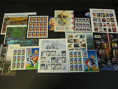 Lot of Twelve Premium US Postage Stamp Sheets MNH VF w/ a Face Value of $53.05