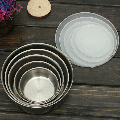5Pcs Stainless Steel Fresh Food Container Storage Lunch Box Bowls Crisper Set