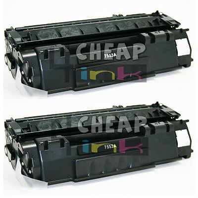 Q7553A 53A Toner Cartridge Black for HP Laserjet P2015dn P2015x Ink - 2 Pack