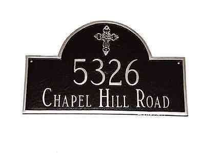 Address Plaque Custom Personalization Classic Arch House Ornate Cross Number