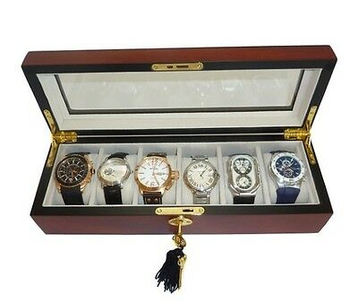 6 (5 + 1) Cherry Wood Rosewood Watch Display Case Glass Top Storage Box Gift Men