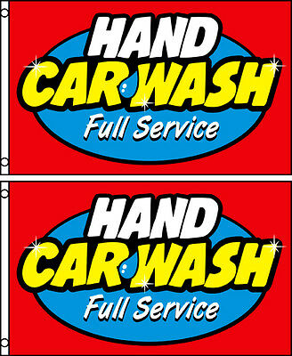TWO (2)  HAND CAR WASH FULL SERVICE 3'x5' FLAGS BANNER SIGNS