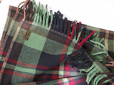 Antique Buggy Sleigh Carriage Lap Blanket  Chase Vintage Horse  plaid green blue