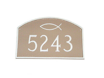 Religious Address Plaque Custom Personalization Ichthus Lawn House Sign Number