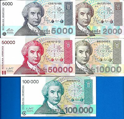 Croatia P-23 P-24 P-25 P-26 P-27 Years 1992-93 Uncirculated Banknotes Set # 4