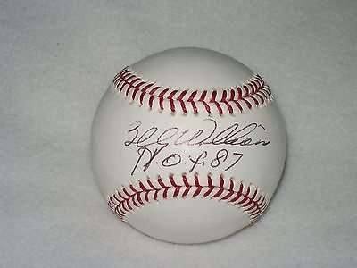 """BILLY WILLIAMS INSCRIBED """"HOF 87"""" AUTOGRAPHED MLB BALL CUBS"""